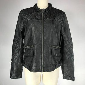 BNCI Black Faux Leather Full Zip Moto Jacket Sz L